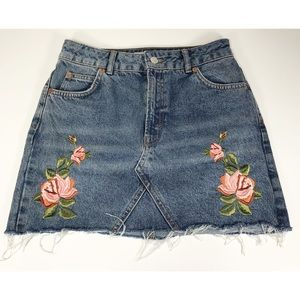 Topshop Floral Embroidered Moto Denim Skirt